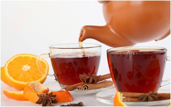 чай, апельсин, корица