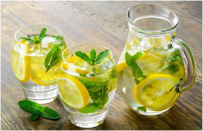 холодный чай с лимоном и мятой