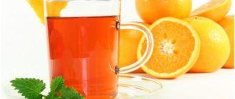 кружка чая на фоне апельсинов