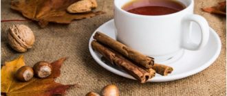 чай с корицей и кленовые листья