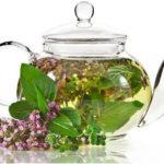 заварочный чайник с чаем из чабреца