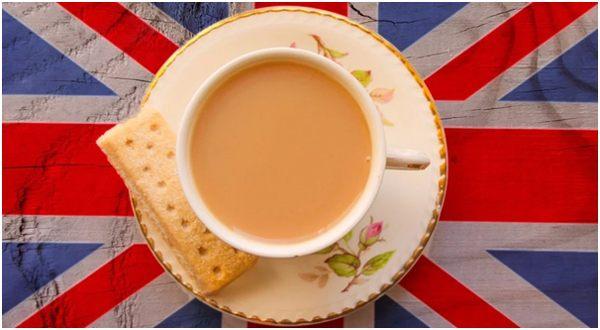 чай на британском флаге