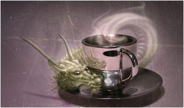 дух дракона и чашка