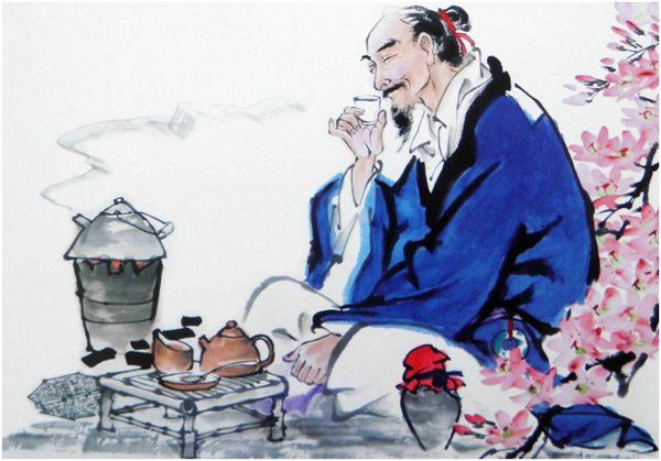 китаец пьет чай рисунок