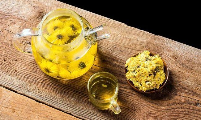 желтый чай из хризантем