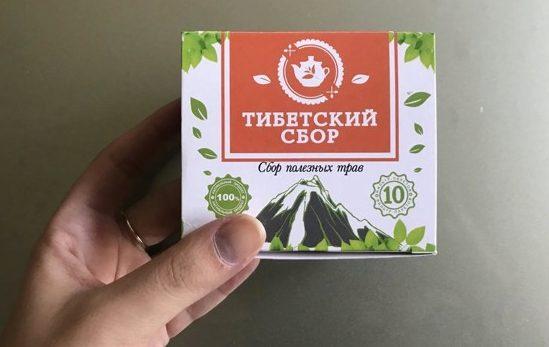 пачка тибетского сбора в руке