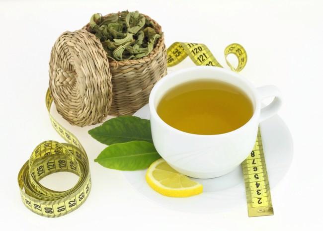 зеленый чай с лимоном и сантиметр